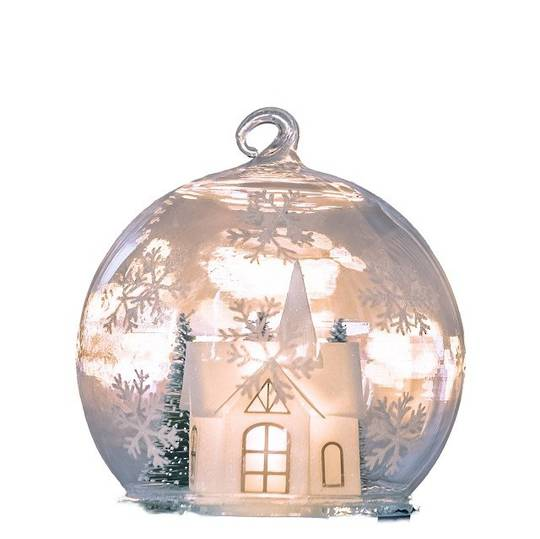 Glass Ball Clear, LED Church Scene 10cm